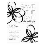 Black & White Wedding Save The Date Postcard