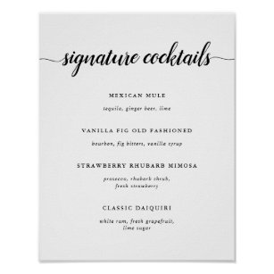 black white wedding signature cocktail menu sign