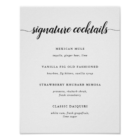 Black & White Wedding Signature Cocktail Menu Sign
