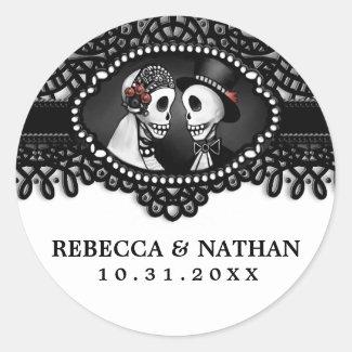 Black & White Wedding Skeletons Envelope Label