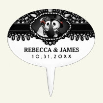 Black & White Wedding Skeletons Halloween Topper