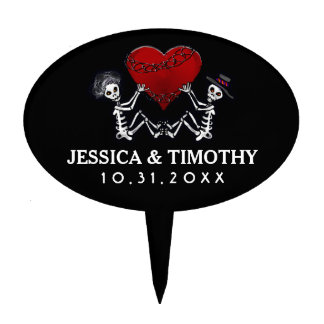 Black White Wedding Skeletons Heart Halloween Top Cake Topper