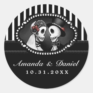 Black White Wedding Skeletons Stripe Names Round Classic Round Sticker