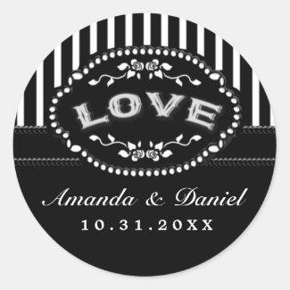 Black White Wedding Stripe LOVE Names Round