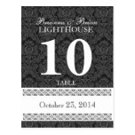 Black & White Wedding Table Number Card Reception Post Card