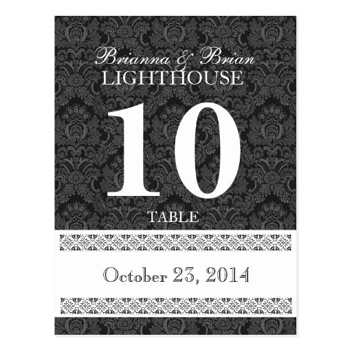 Black & White Wedding Table Number Card Reception Postcard