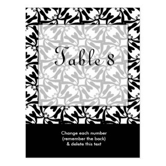 Black White Wedding Table Number Postcard