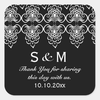 Black White Wedding Thank You Monogram Stickers