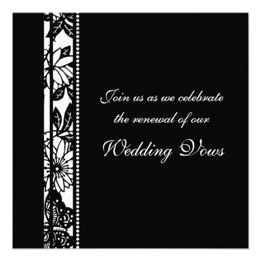 black white wedding vow renewal invitations - Wedding Renewal Invitations