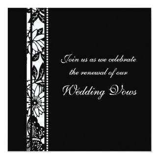 "Black & White Wedding Vow Renewal Invitations 5.25"" Square Invitation Card"