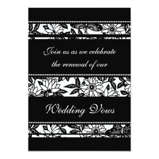 "Black & White Wedding Vow Renewal Invitations 5"" X 7"" Invitation Card"