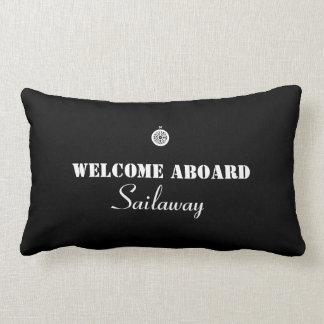 Black White Welcome Aboard Boat Nautical Lumbar Pillow