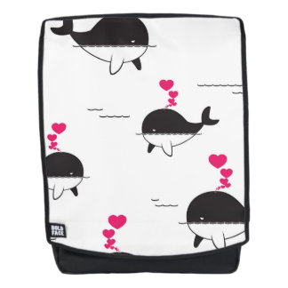 Black & White Whale Design with Hearts Backpack