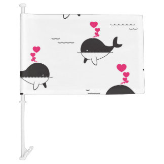 Black & White Whale Design with Hearts Car Flag