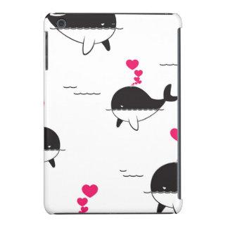 Black & White Whale Design with Hearts iPad Mini Retina Cover