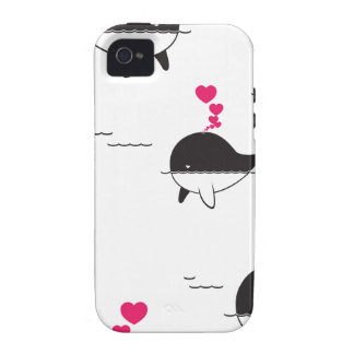Black & White Whale Design with Hearts iPhone 4 Cases