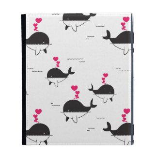 Black & White Whale Design with Hearts iPad Folio Cases