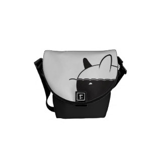 Black & White Whale Design with Hearts Courier Bag