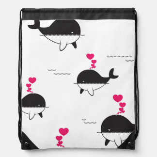 Black & White Whale Design with Hearts Drawstring Bag