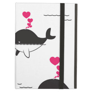 Black & White Whale Design with Hearts iPad Air Cover
