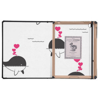 Black & White Whale Design with Hearts iPad Cases