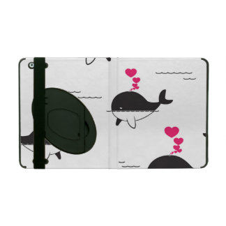 Black & White Whale Design with Hearts iPad Cover