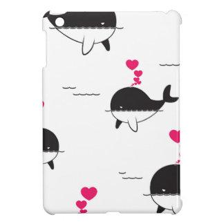 Black & White Whale Design with Hearts iPad Mini Cover