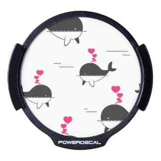 Black & White Whale Design with Hearts LED Window Decal