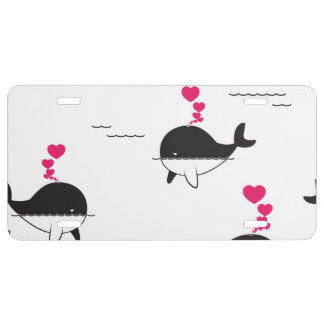 Black & White Whale Design with Hearts License Plate
