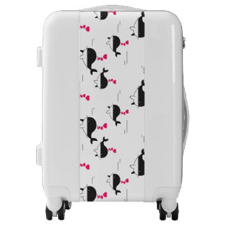 Black & White Whale Design with Hearts Luggage