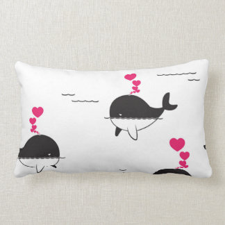 Black & White Whale Design with Hearts Pillows