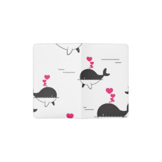 Black & White Whale Design with Hearts Pocket Moleskine Notebook