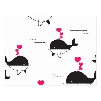 Black & White Whale Design with Hearts Postcard