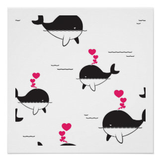 Black & White Whale Design with Hearts Poster