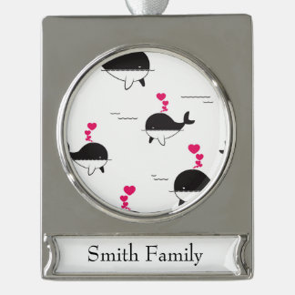 Black & White Whale Design with Hearts Silver Plated Banner Ornament