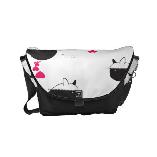 Black & White Whale Design with Hearts Small Messenger Bag