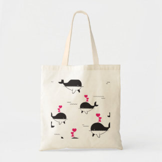 Black & White Whale Design with Hearts Tote Bag