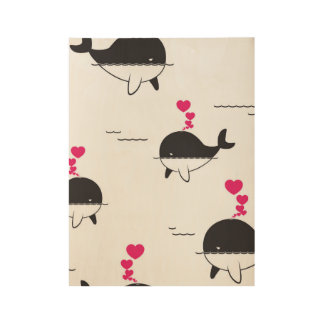 Black & White Whale Design with Hearts Wood Poster