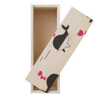 Black & White Whale Design with Hearts Wooden Keepsake Box