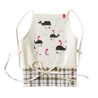 Black & White Whale Design with Hearts Zazzle HEART Apron