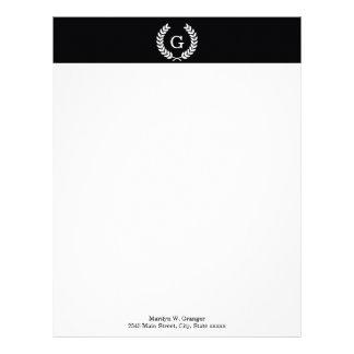 Black White Wheat Laurel Wreath Initial Monogram Letterhead Template