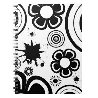 Black & White Whimsical Flowers, Circles, Splatter Notebook
