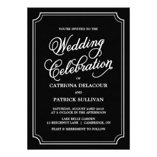 Black & White Whimsical Script Wedding Invitation