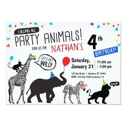 Black White Wild Party Animal Birthday Invitation