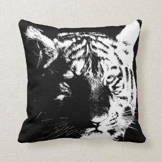 Black & White Wild Tiger Eyes Pop Art Throw Pillow