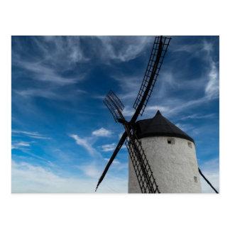Black-white windmill postcard