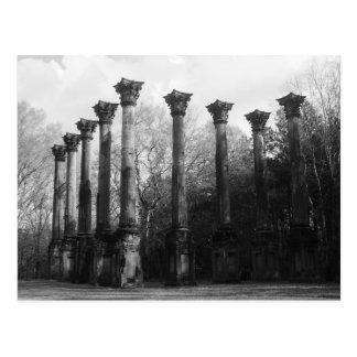 Black & White Windsor Ruins Port Gibson MS Postcard