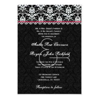 Black White Wine Red Damask Lace Wedding Recycled Card