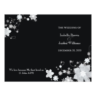 "Black & White Winter Wedding Bi Fold Programs 8.5"" X 11"" Flyer"