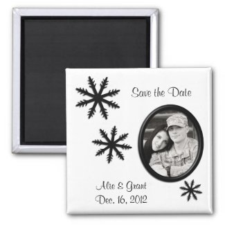 Black & White Winter Wedding Save the Date Magnet